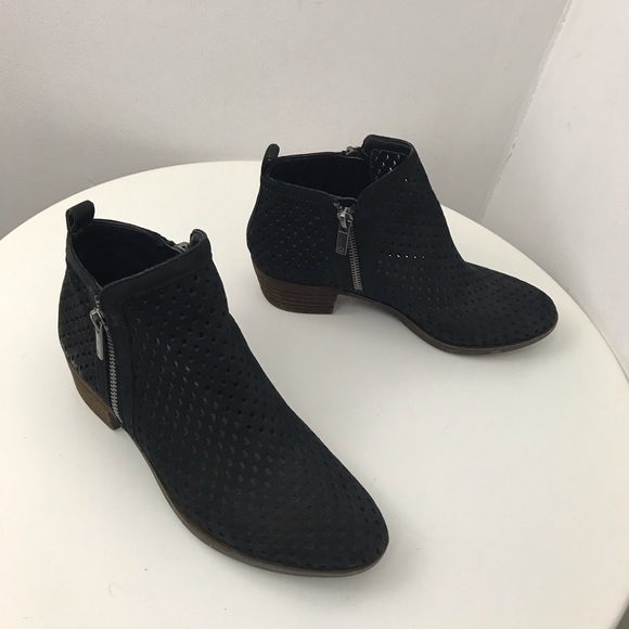 f54a82bbefb LICKY BRAND black suede perforated ankle booties 6
